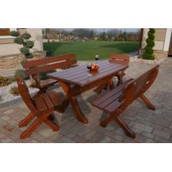 Meble Ekskluzywne 8 osobowe – Stół 160 cm +2 ławki 150 cm + 2 krzesła