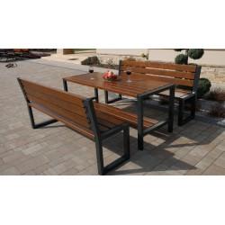 Stół nowoczesny + dwie ławki nowoczesne z oparciem